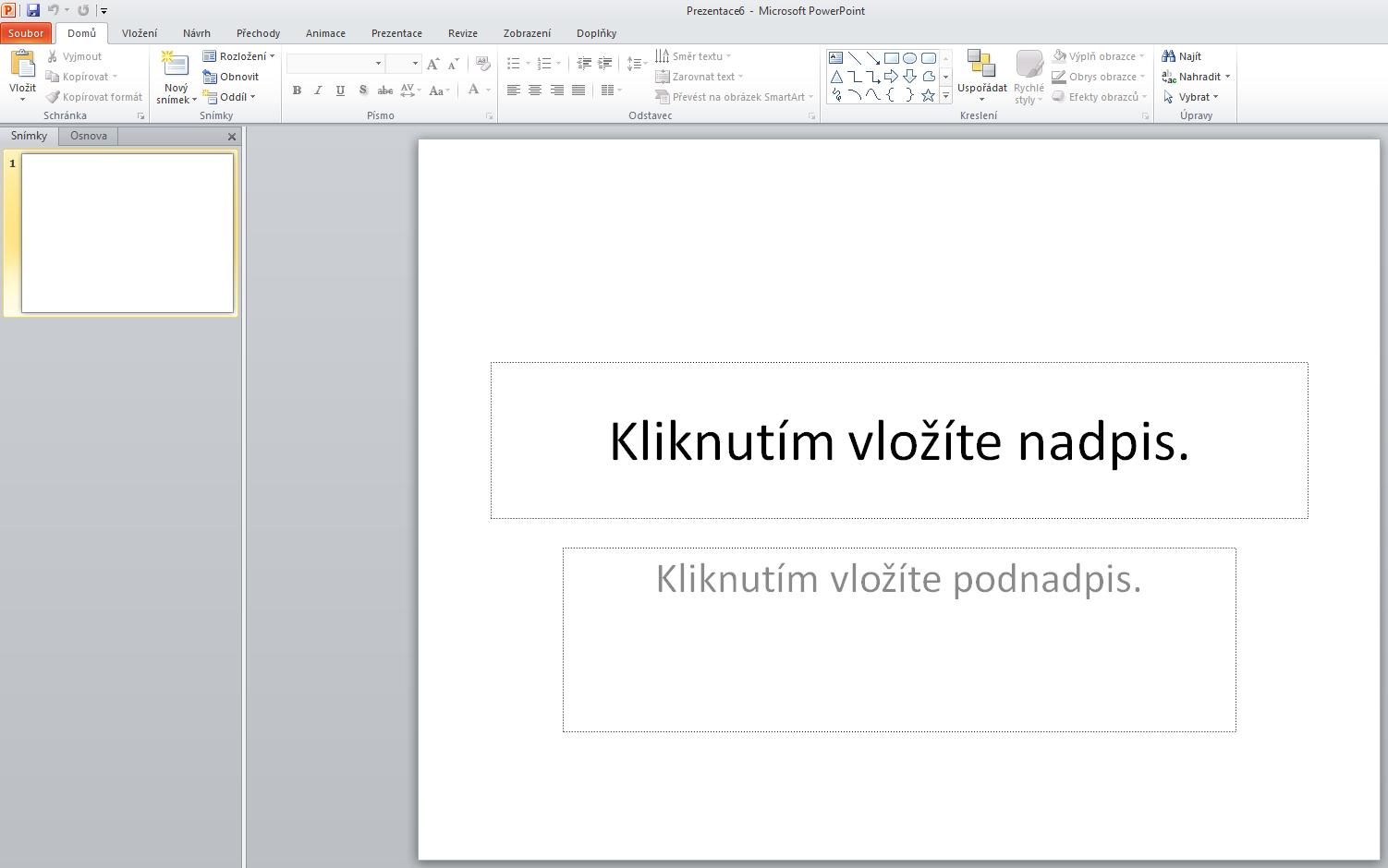Vytvoření prezentace prostřednictvím šablony