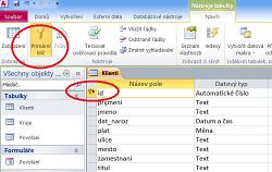 Primární klíč a indexy v tabulce