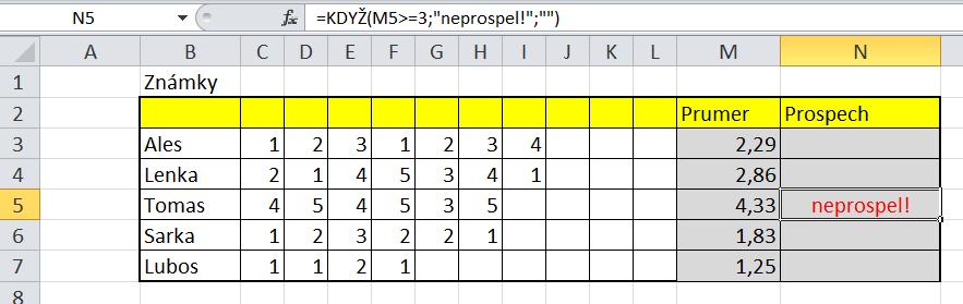 Funkce Když - 1 příklad